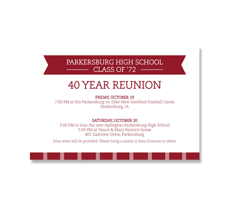 Parkersburg Class Reunion Postcard