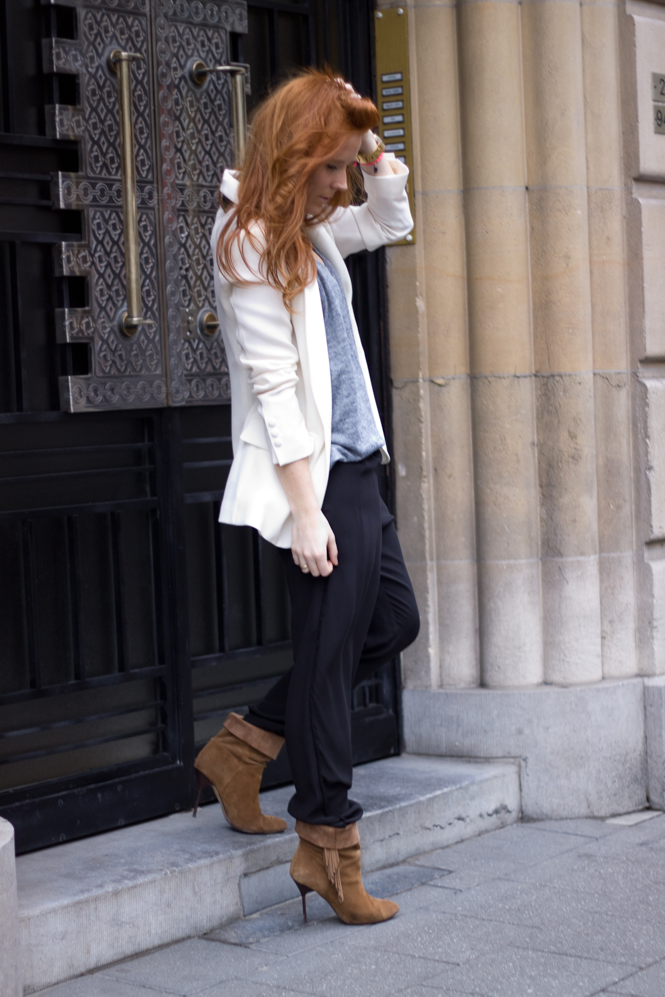 mango boots and iro jacket