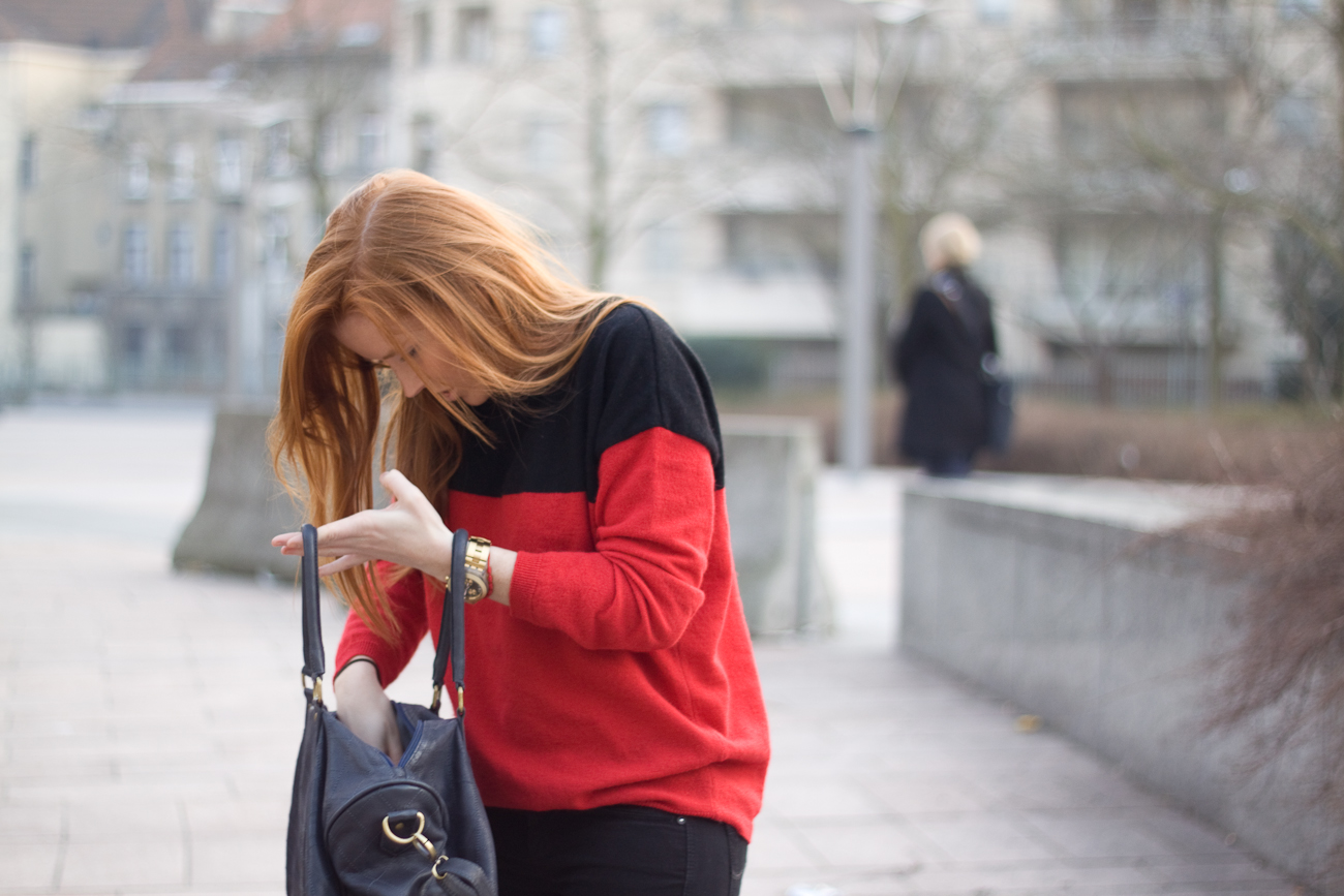 red and black jumper