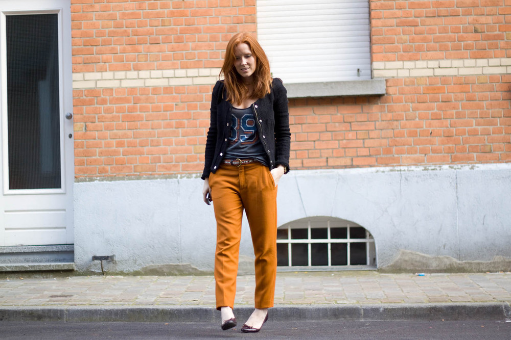 Zara orange trousers
