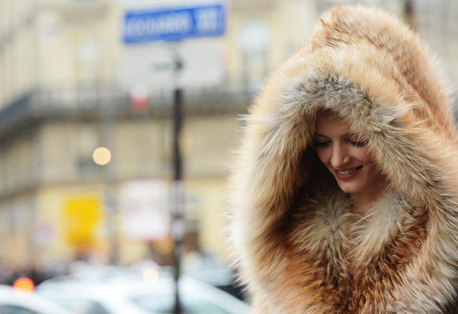 A faux fur hood