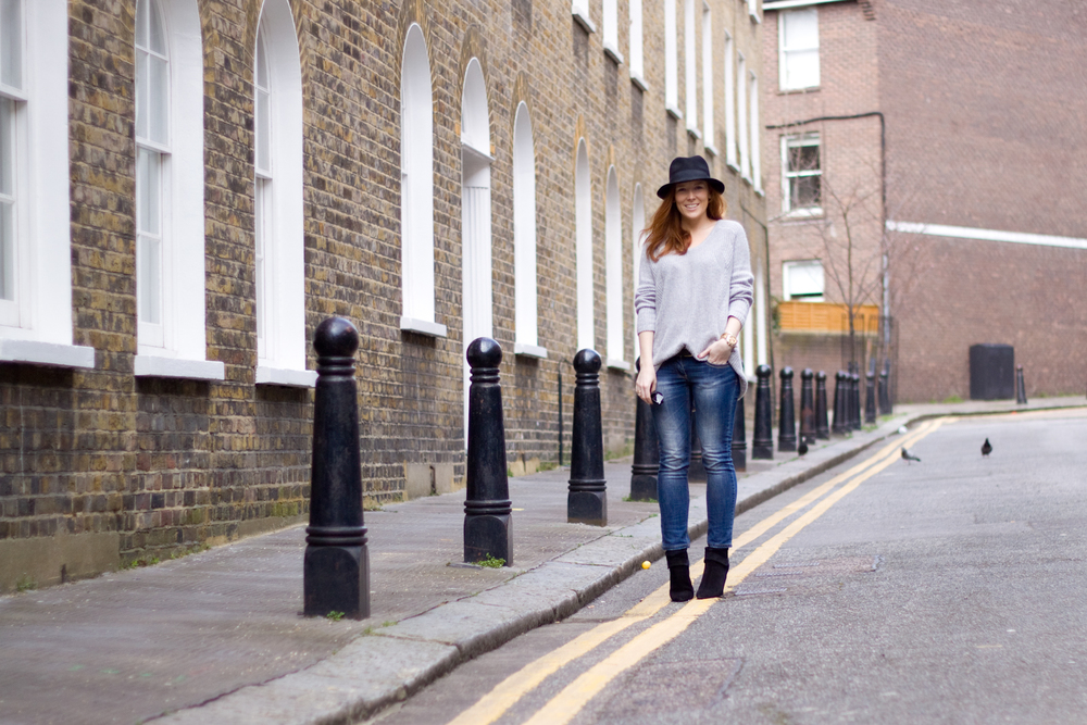 Topshop jumper / River Island jeans / Mango boots and H&M hat