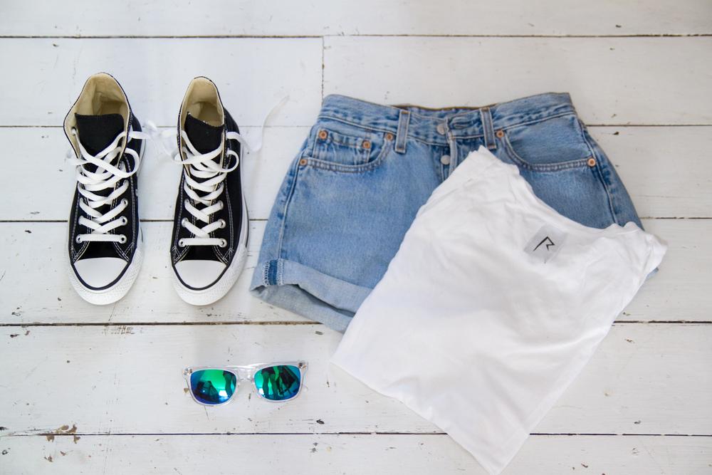 Converse / Vintage Levis shorts /  Rihanna x River Island  tee