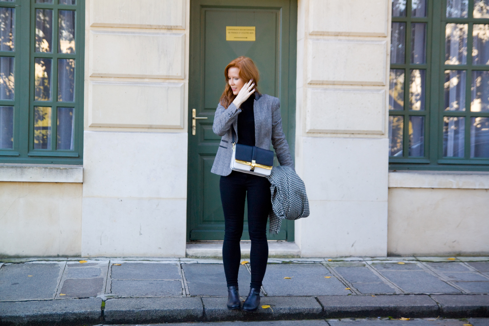 Zara blazer, jumper, scarf and bag / Urban Outfitter jeans / Topshop boots