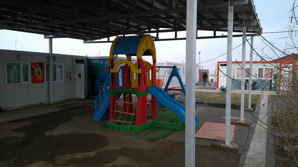 The covered playground can be used during the hot summer.