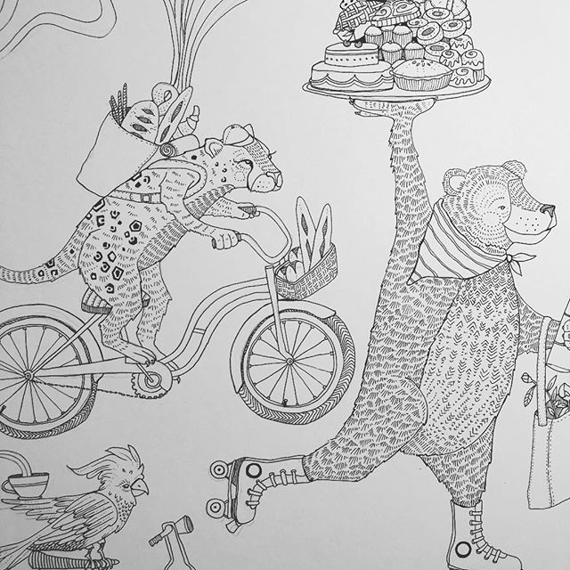 A snippet of some WIP for a new babe and her mama. Excited to deliver the colored up final pieces next week! . .  #specialdelivery #artlife #illustration #penandink #lineart #rollerskating #bikelife #cockatoosofinstagram #cheetah #bikemessenger #bakedgoodies #wip