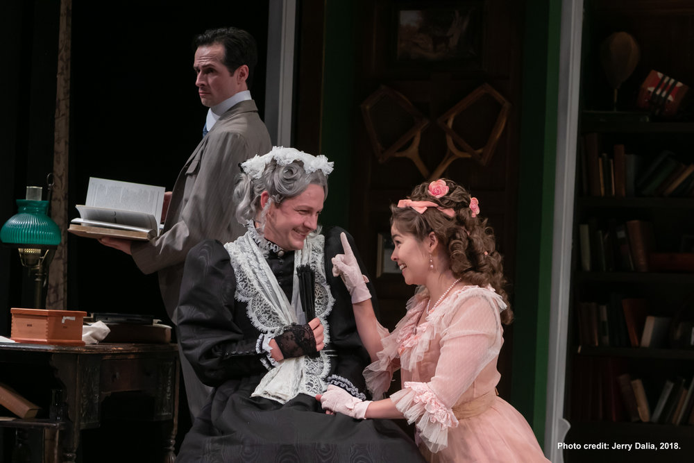 Jack Chesney (Aaron McDaniel), Charley's Aunt (Seamus Mulcahy), and Amy Spettigue (Emiley Kiser)