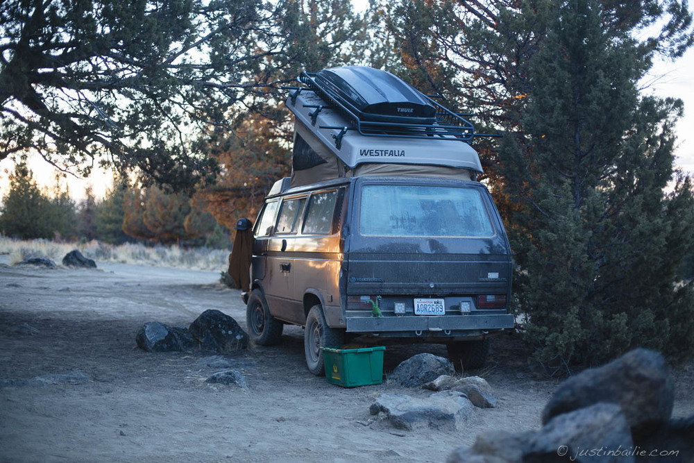 Van camping near Bend, Oregon.