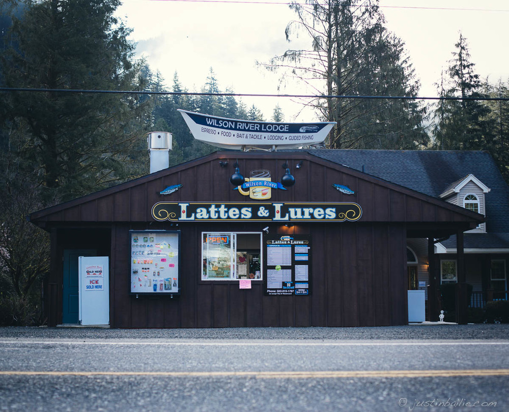 Coffee and lure shop along the Wilson River, near Tillamook, Oregon.