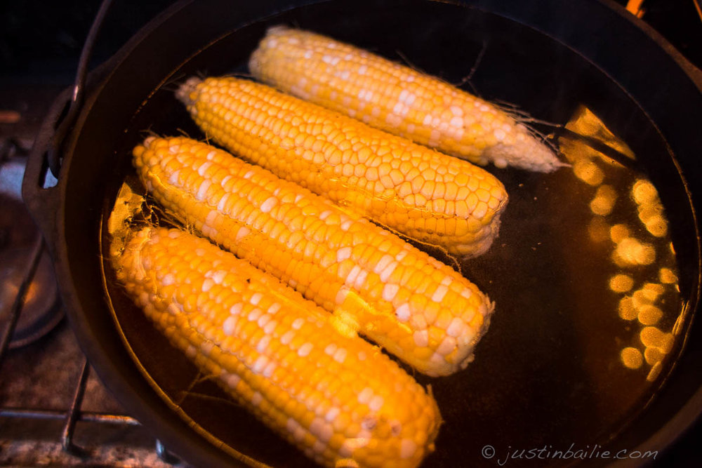 Corn cooked on camp stove. Washington