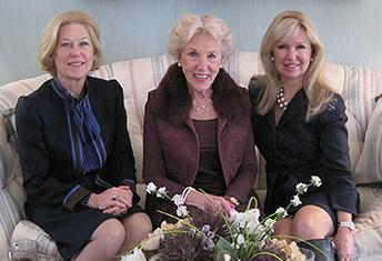 LFS Guild members Margaret Manzo, Mathilda Williams and Celeste Lockhart at a pre-concert tea