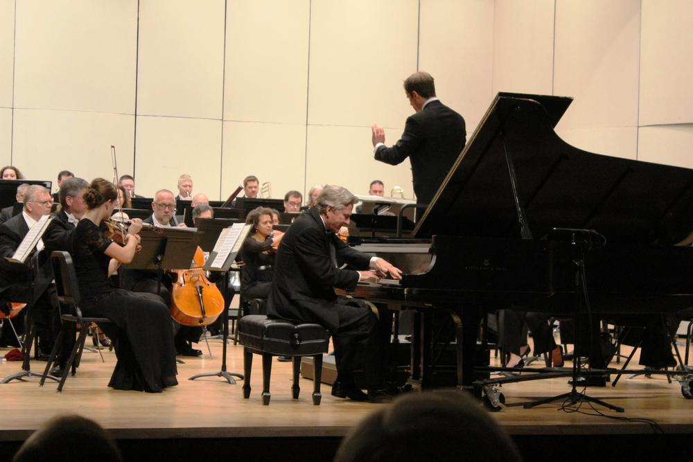 Guest conductor Vladimir Kulenovic with pianist Ralph Votapek at the Lake Forest Symphony Opening Gala Concerts.  September 2013.