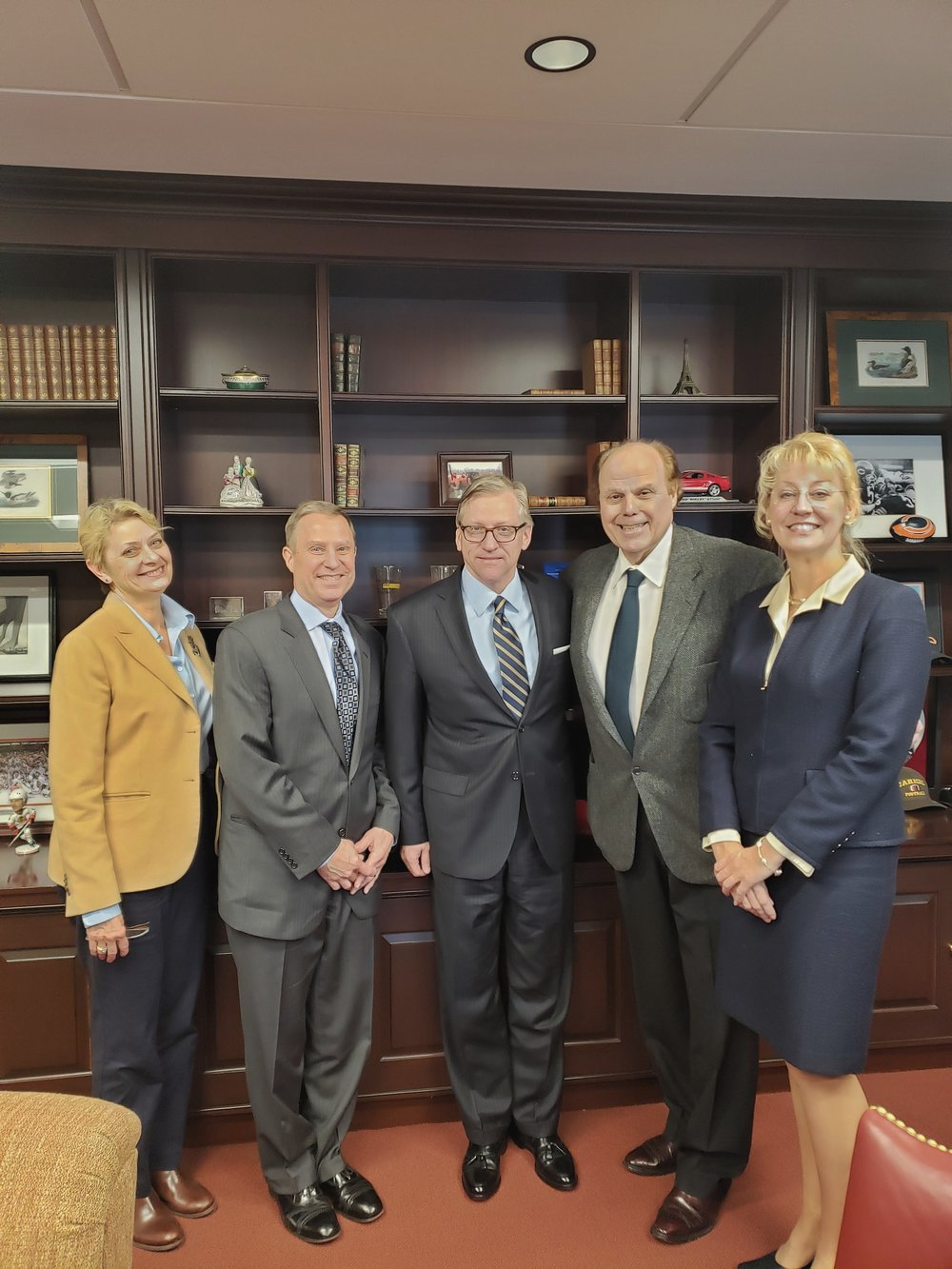 Pictured are: LFS Board Members Beth Miller, Ray Frick, and Kim Campbell with Stephen Milota and David Lee of Lake Forest Bank & Trust.