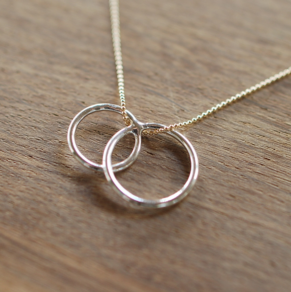 Infinity Necklace  : Two fine silver rings are fused and hardened.  These rings are simply strung onto a gold filled ball chain