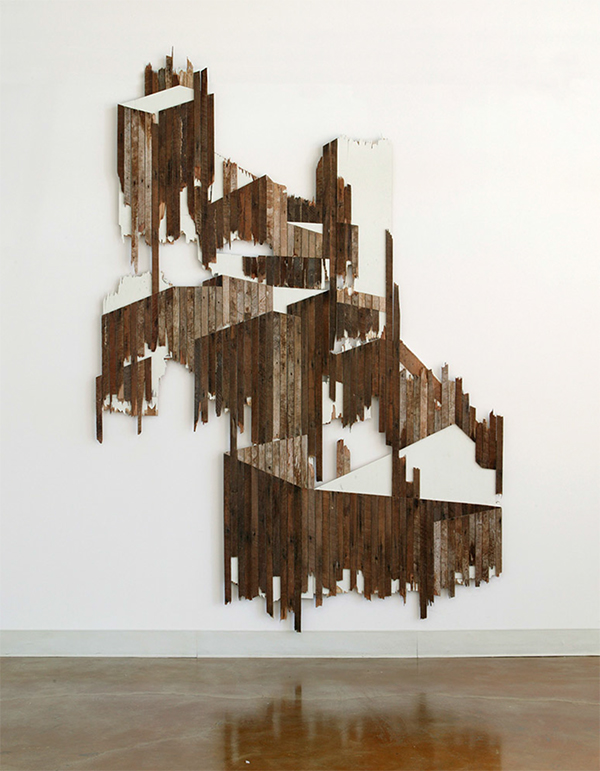 "'beneath the monument' 107"" x 88"", salvaged wood. 2007"