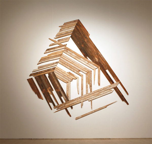 "'out of order' 96""sq, salvaged wood. 2010"