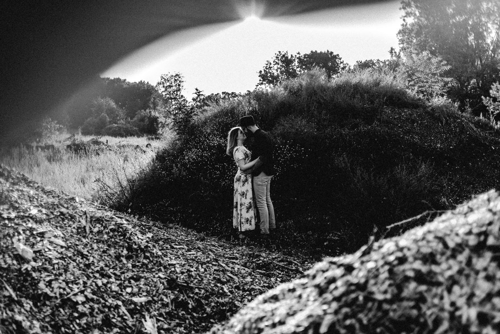 Rochester Michigan Photographer black and white vintage dress cute couple outdoor golden hour (8).JPG