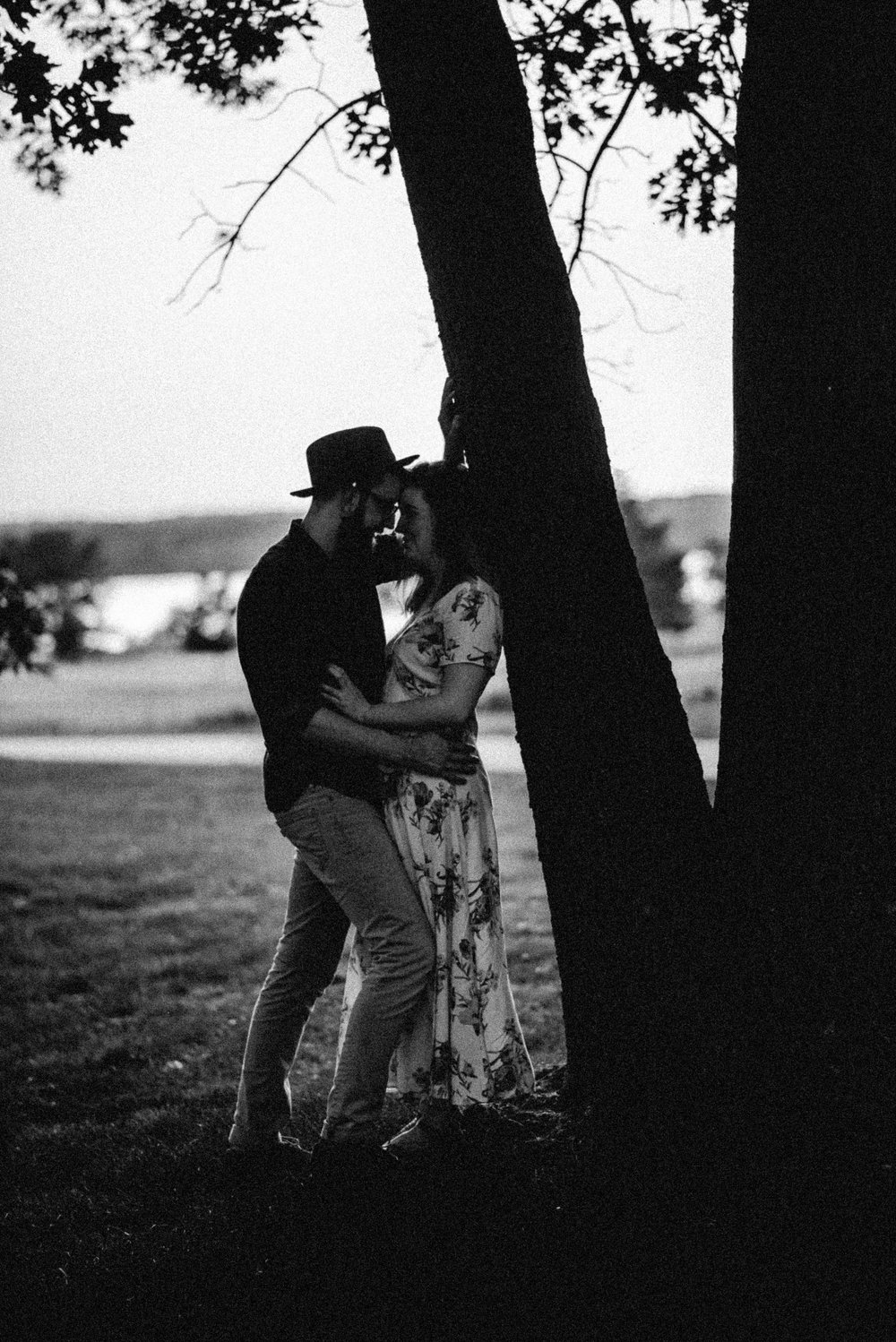Rochester Michigan Photographer black and white vintage dress cute couple outdoor golden hour (27).JPG