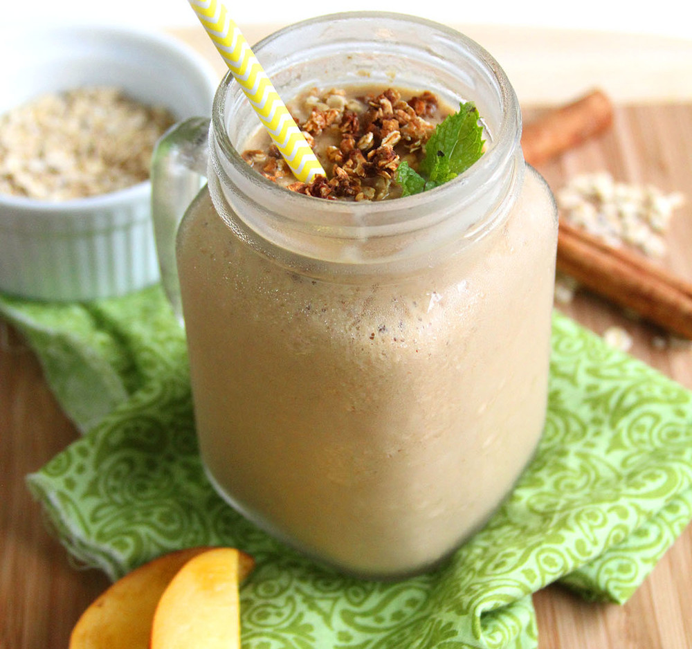 Peach Cobbler Protein Smoothie by Noshed