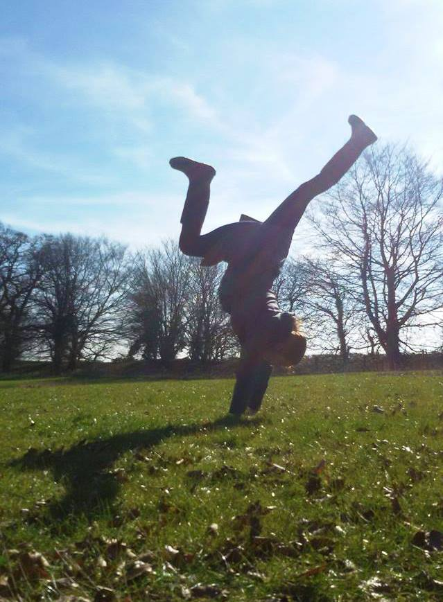 A handstand in wellies during a winter walk whilst volunteering at a Buddhist Meditation Centre.