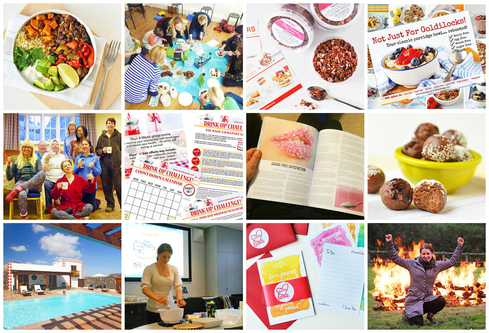 Top to Bottom: Recipe Inspiration // Creative food & craft Workshops // Wholeplus Toppers // Recipe books and Workbooks // UK Raw Retreat Experience // Group Challenges // Published articles & Author // Recipe development & photography collaborations // Wellness Retreats overseas // Talks & demos to groups // I designed #sharethelove letters // Extreme self empowerment: I'm a qualified fire walk instructor!