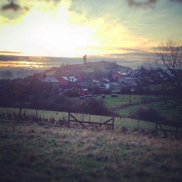 Last light on Boxing Day walkies #almondbury #castlehill