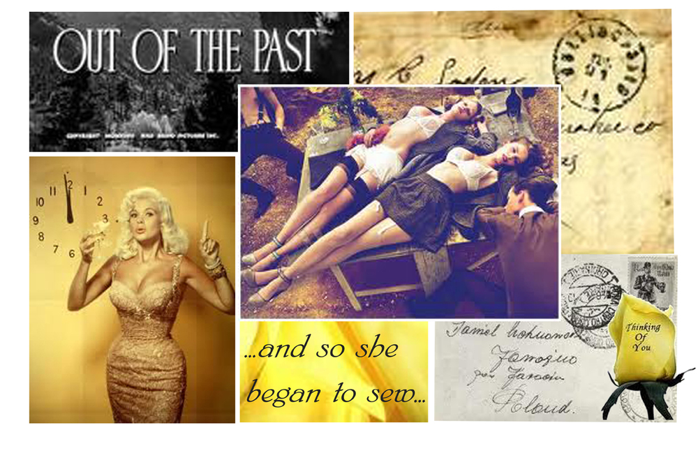 Moodboard for 1940's lingerie (centre image taken from Sunday Times photoshoot)