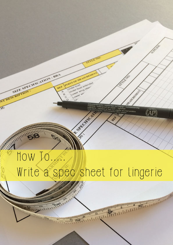 how to write a spec sheet for lingerie