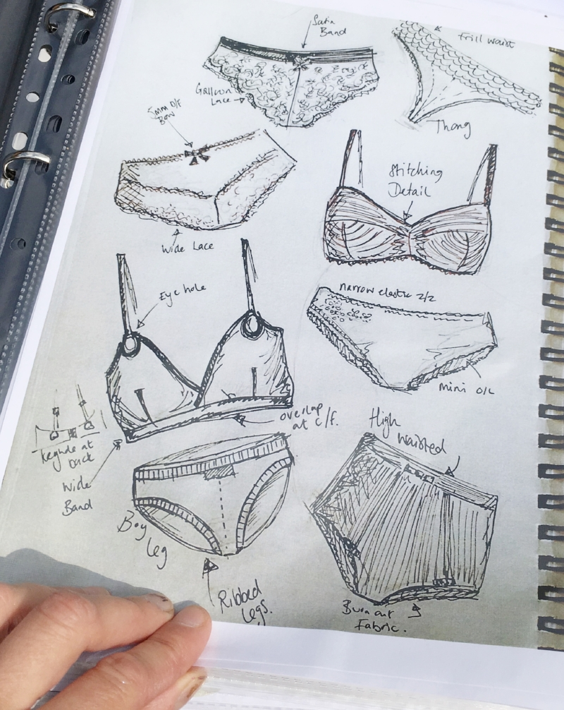 lingerie sketches for portfolio