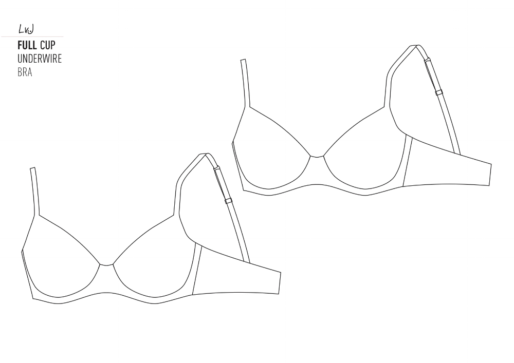 Blank template of an underwire bra