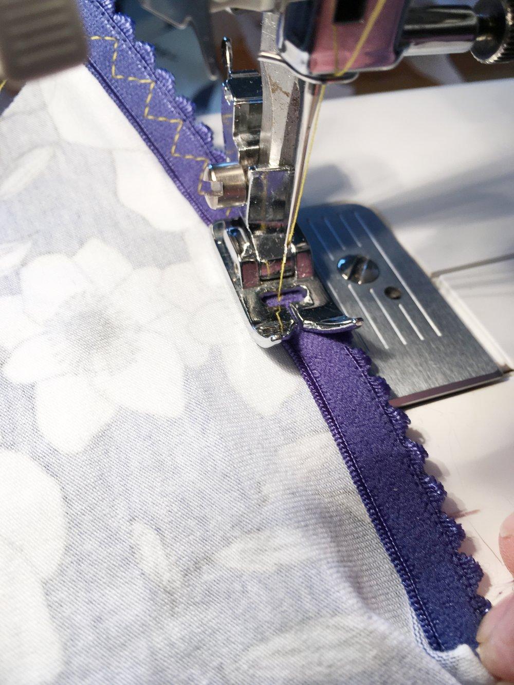 attache elastic using 3-step stitch