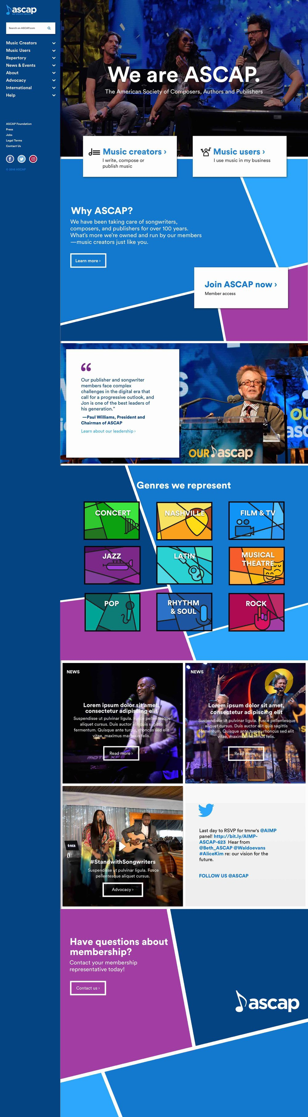 ASCAP.com homepage log scroll format, highlighting news & events that ASCAP has across the country. As well as an easy way to showcase our genres to our members.