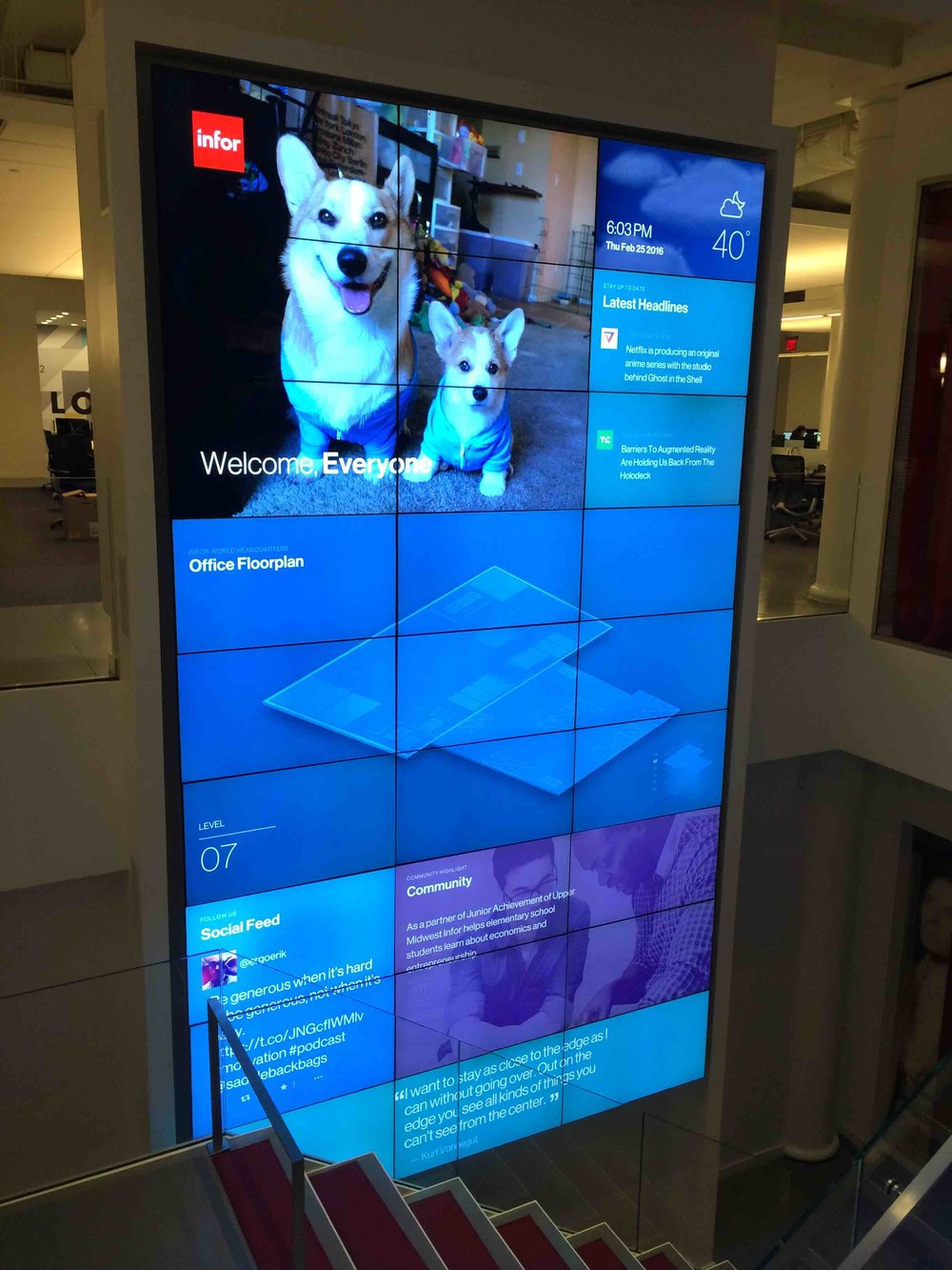 Video wall live with test data at Infor HQ May 2016