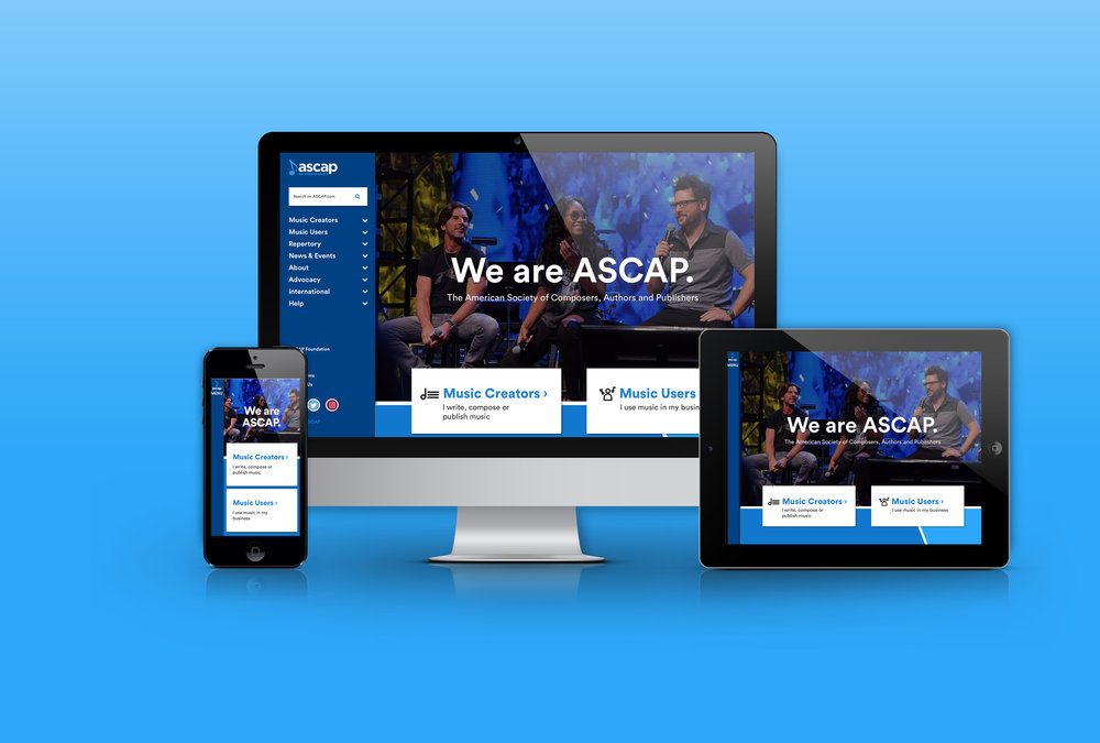 New ASCAP.com homepage omni view