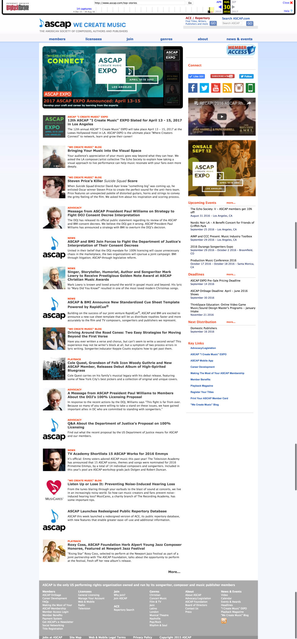 Screenshot of ASCAP.com prior to Nov 2016