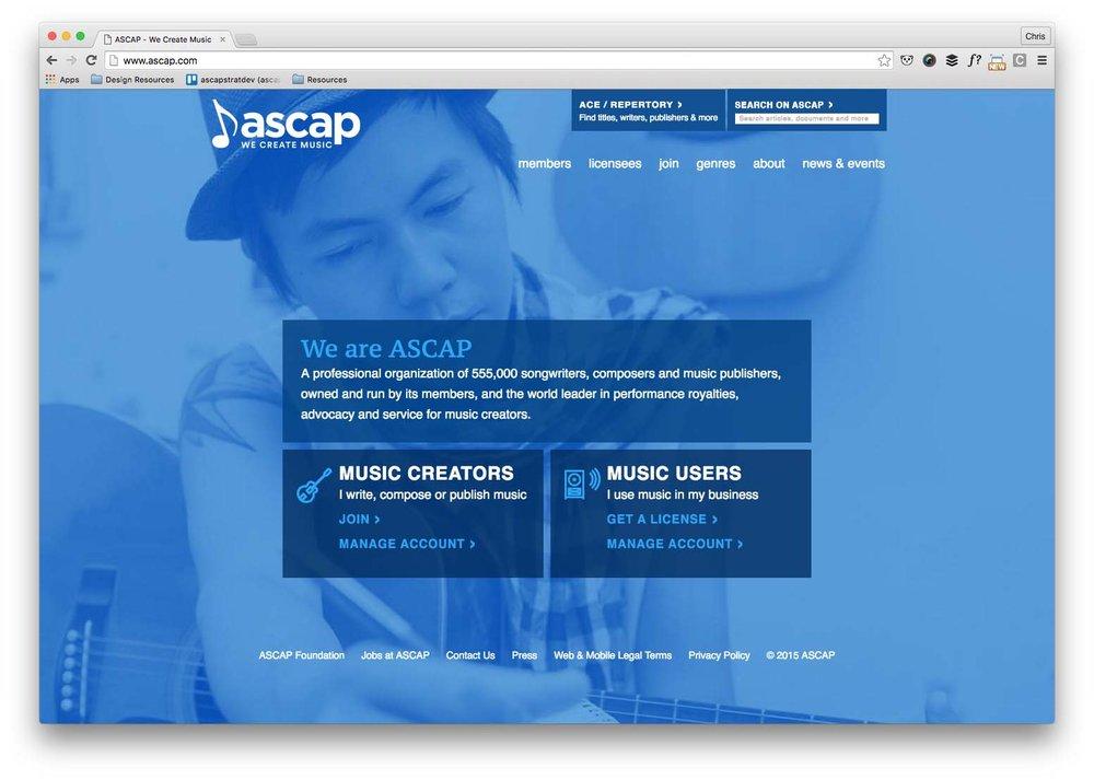 ASCAP.com homepage prior to Nove 2016 launch