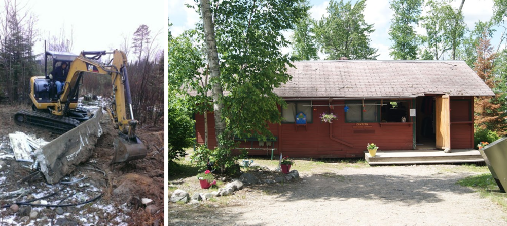 On the left: Dale Gustafson on site removing the old foundation from the Program Director's house. On the right: Camp Vermilion's Canteen/Health Care Center, which will be removed this winter.