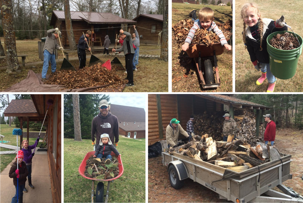 Click the collage to view more photos from Camp Hiawatha's Work Day!
