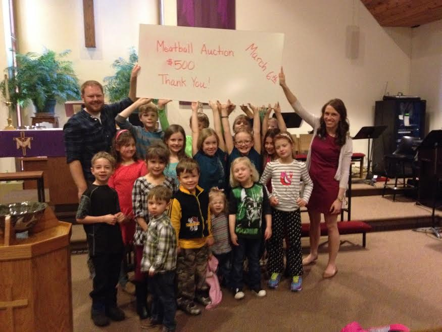 VLM Staff and Campers from Bethesda in Carlton celebrate campership funds raised at their Meatball Auction.