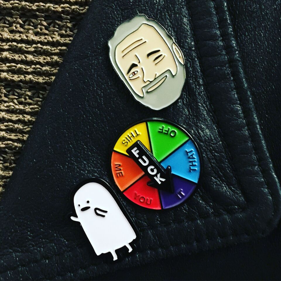Working on my pin game. Look at bitty baby Sondheim!