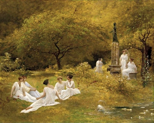 """""""The Muses' Garden"""" by Lionel-Noel Royer (1852-1926). Feel those golden vibes."""