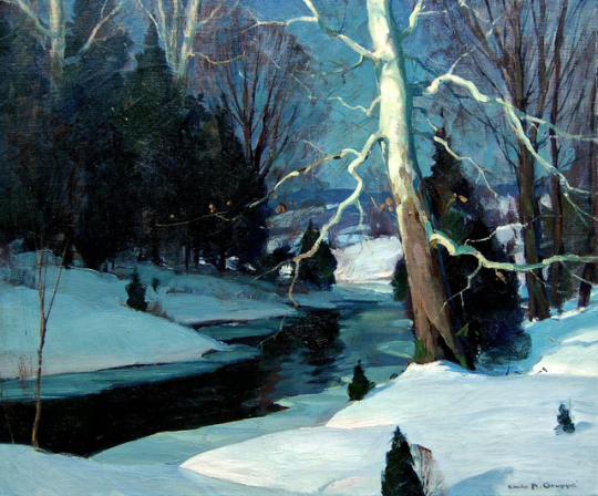 """Winter at Woodstock, NY,"" by Emile Gruppe. Oil paint, c. 1920."