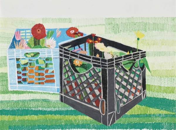 """Day Before Planting"" by Jonas Wood, 2007. Colored pencil on paper, 22 x 30 in."