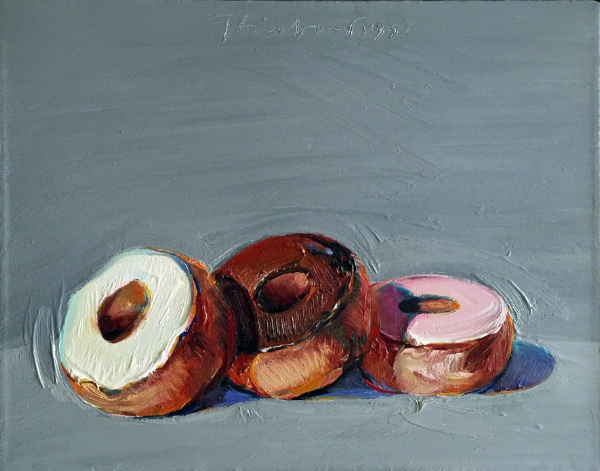 """Three Donuts"" by Wayne Thiebaud, 1994. Oil on canvas, 11 x 14 in."