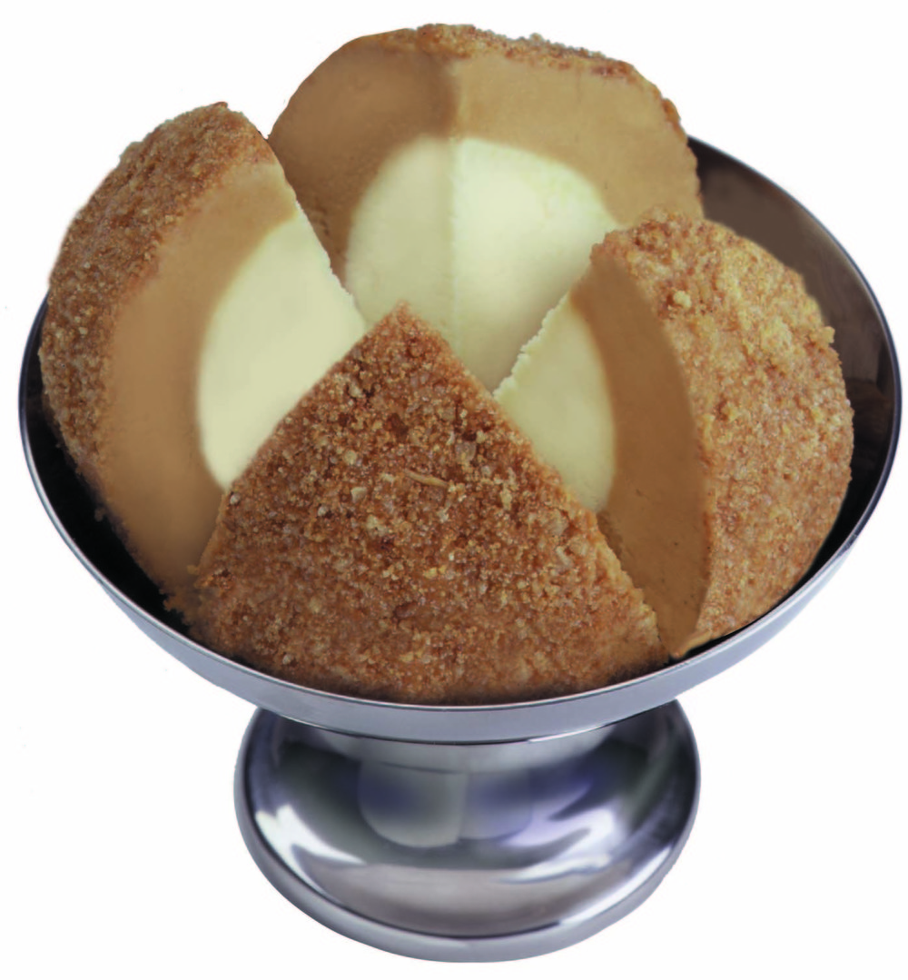 Caramel Vanilla:    Rich Milanese Vanilla ice cream centred in Creme Caramel. Rolled in homemade oatmeal cookies.