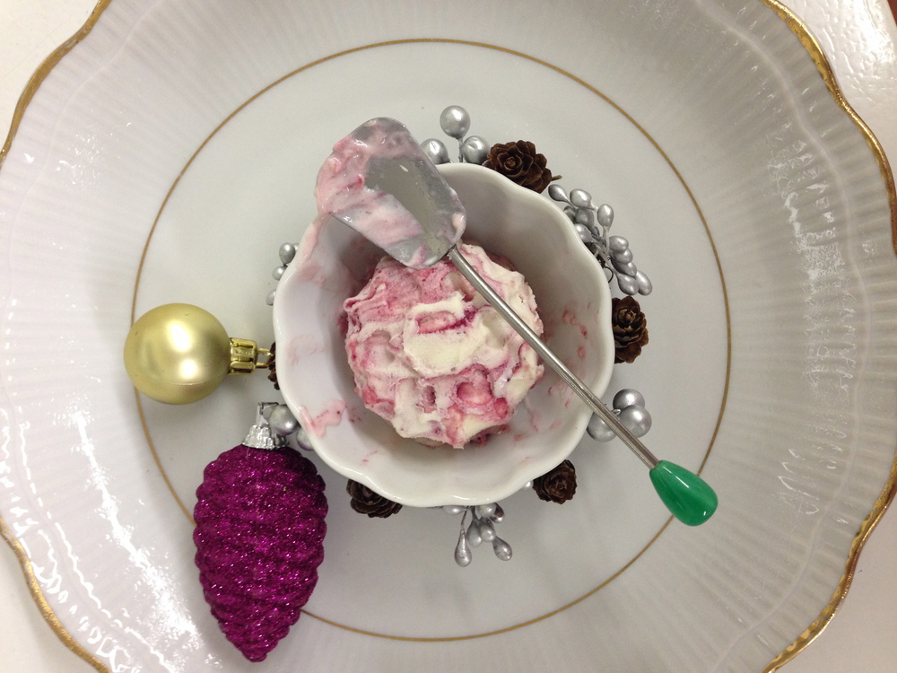 Cranberry Sorbet with Lindt White Chocolate Snowflake