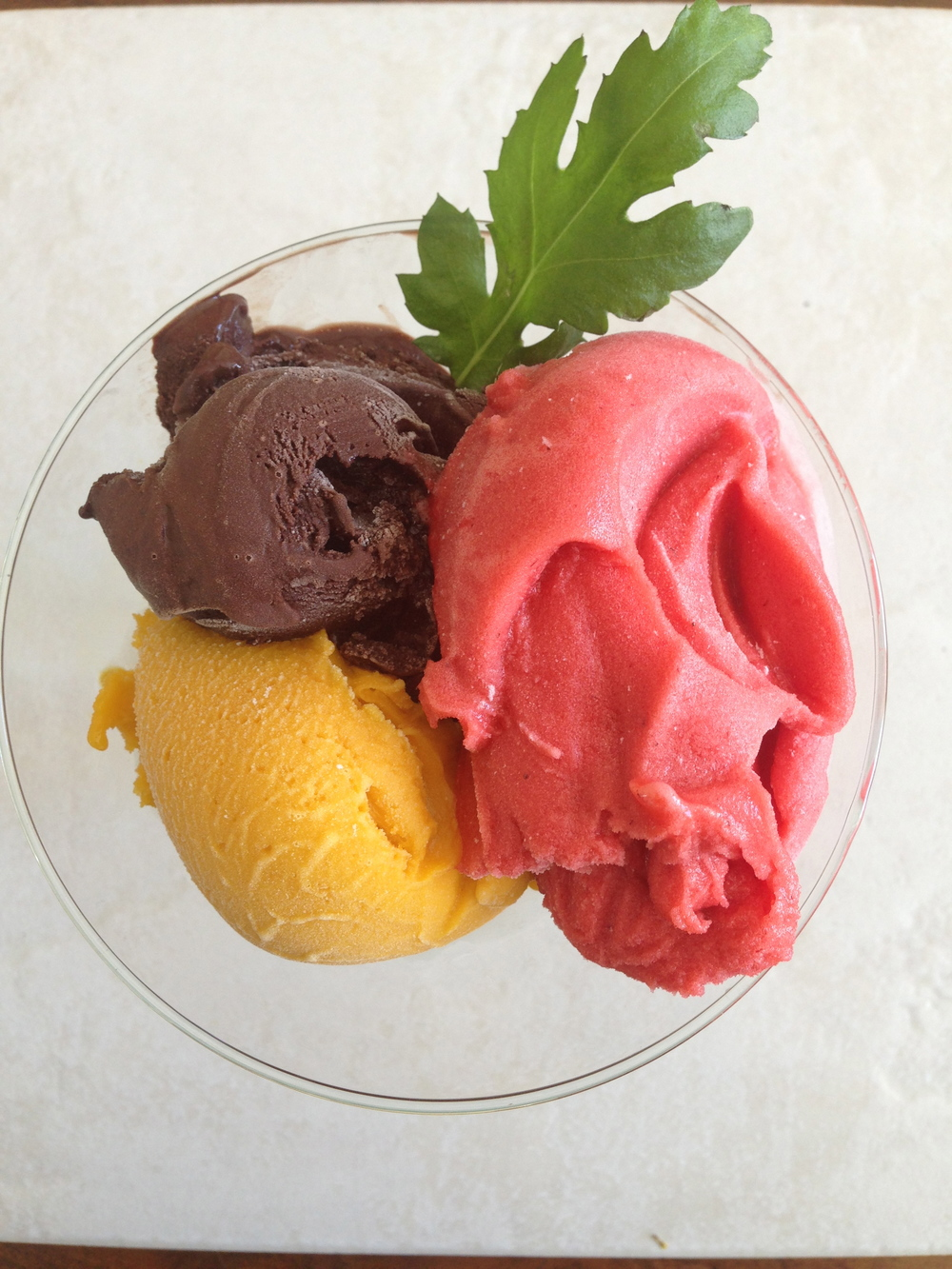 Trio Sorbet Alfonso Mango, Fresh Strawberry, Lindt Dark Chocolate