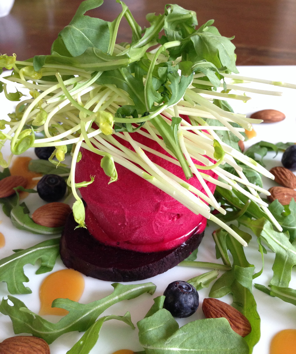 Beet Sorbet with Arrugula & Pea Shoots