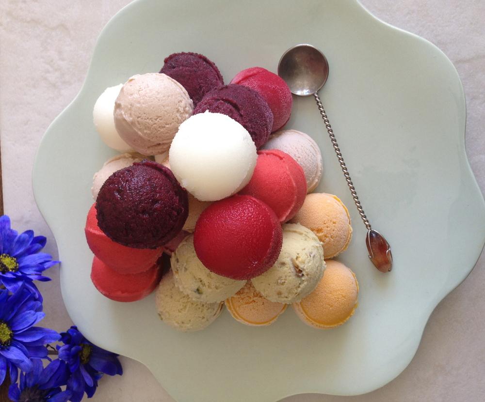 Assorted Gelato and Sorbet : Raspberry, Fresh Strawberry, Alfonso Mango, Blueberry, Sicilian Lemon, Pistachio, Toasted Hazelnut