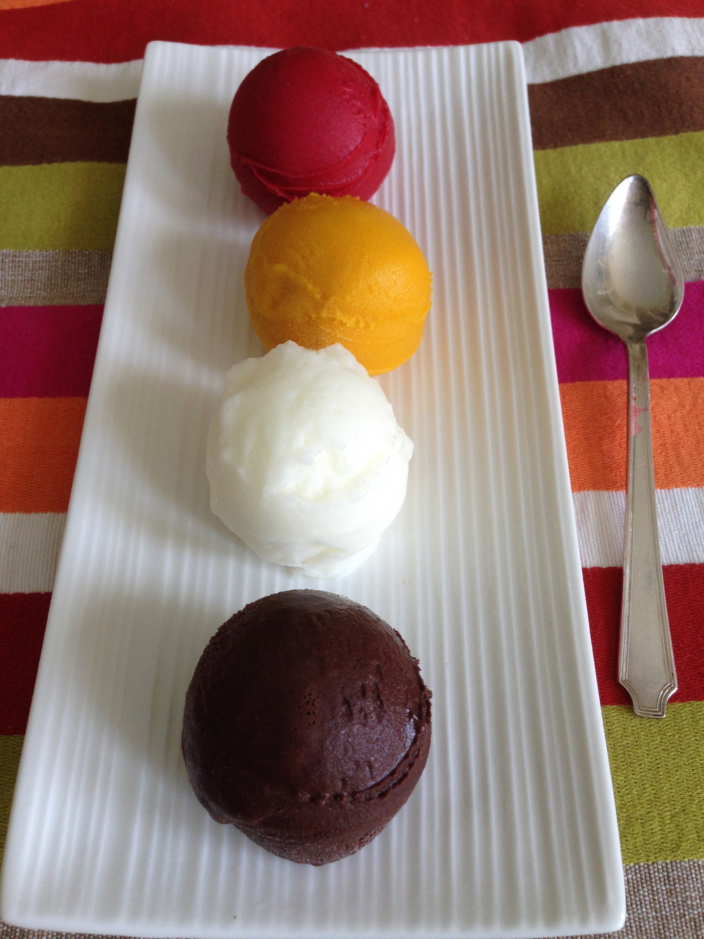 The Tried and True Favourites : Raspberry, Alfonso Mango, Sicilian Lemon Sorbet. Devil's Chocolate Gelato